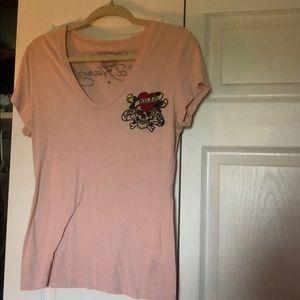 EUC pink Ed hardy top
